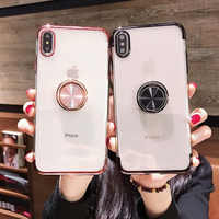 Luxury Plating Silicone With Ring Holder Multifunction Bracket For iPhone 5 5S SE 6 6S 7 8 Plus X XS MAX XR Transparent Cover