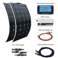 BOGUANG 2 pcs 100W Solar Panel 12V / 24V 20A Controller and 110V or 220V 1000W Inverter 200W Solar Panels kit system for home