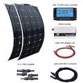 BOGUANG 2 piezas 100 W Panel Solar 12 V/24 V 20A controlador y 110 V o 220 V 1000 W inversor 200 W paneles solares sistema kit para el hogar