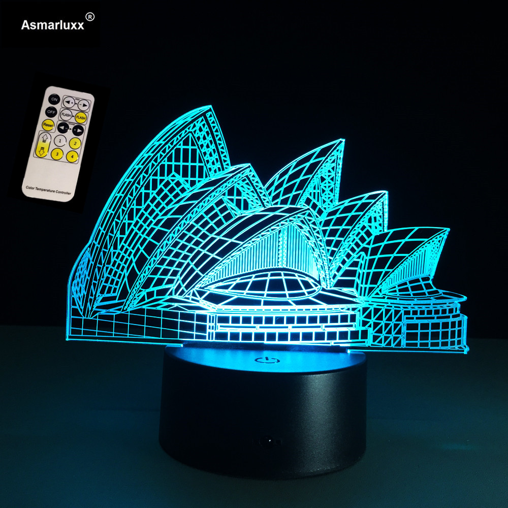 3D Lamp Visual Light Effect Sydney Opera Hologram Lamp Touch Switch & Remote Control 7 Colors Changes Night Light USB Connected