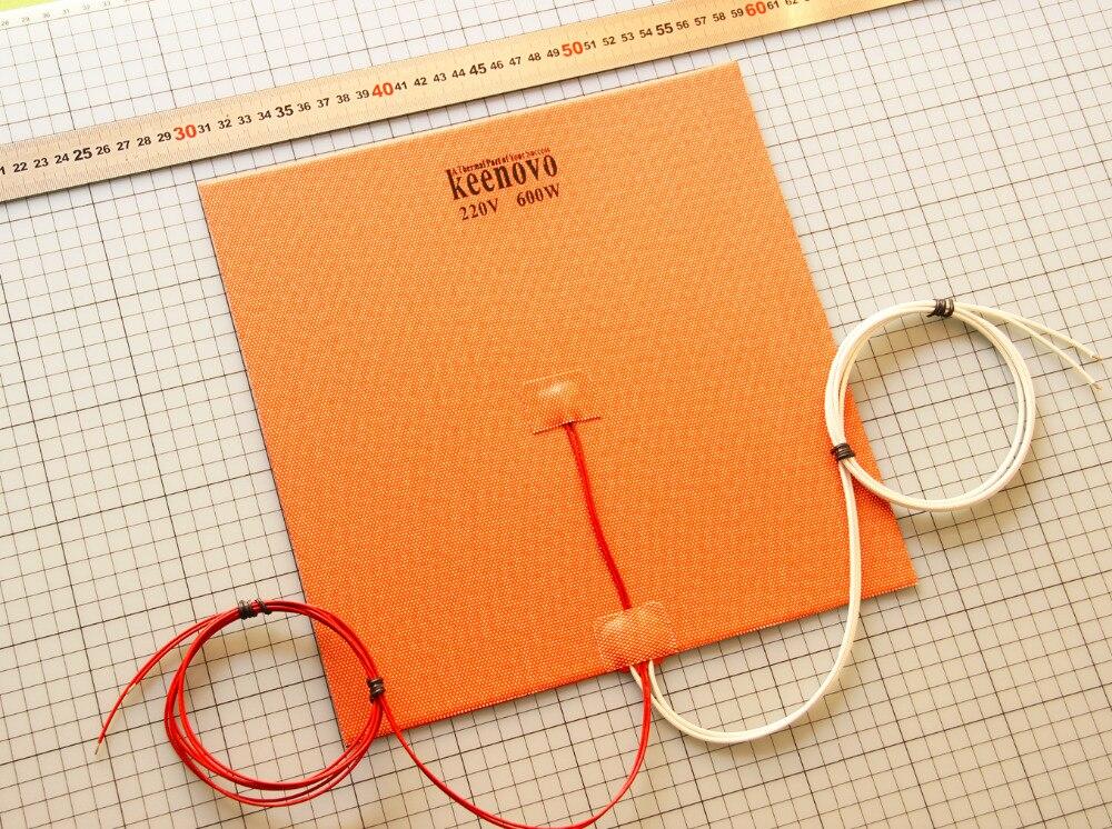 280X280mm 600W @ 220 V auténtica almohadilla de calentador de silicona Keenovo para la cama calentada de la impresora 3D, elemento de calentamiento de placa de construcción envío gratis-in Almohadillas eléctricas from Hogar y Mascotas    1