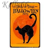 [Kelly66] трюк или лечения Хэллоуин кошка металлический знак Олово плакат Home Decor бар Wall Art Живопись 20*30 см размер y-1802