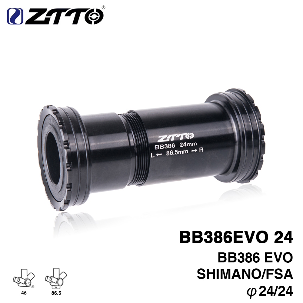 ZTTO BB386 EVO 24 Adapter bicycle Press Fit Bottom Brackets Axle for MTB Road bike Shimano FSA 24mm Crankset chainset west biking bike chain wheel 39 53t bicycle crank 170 175mm fit speed 9 mtb road bike cycling bicycle crank