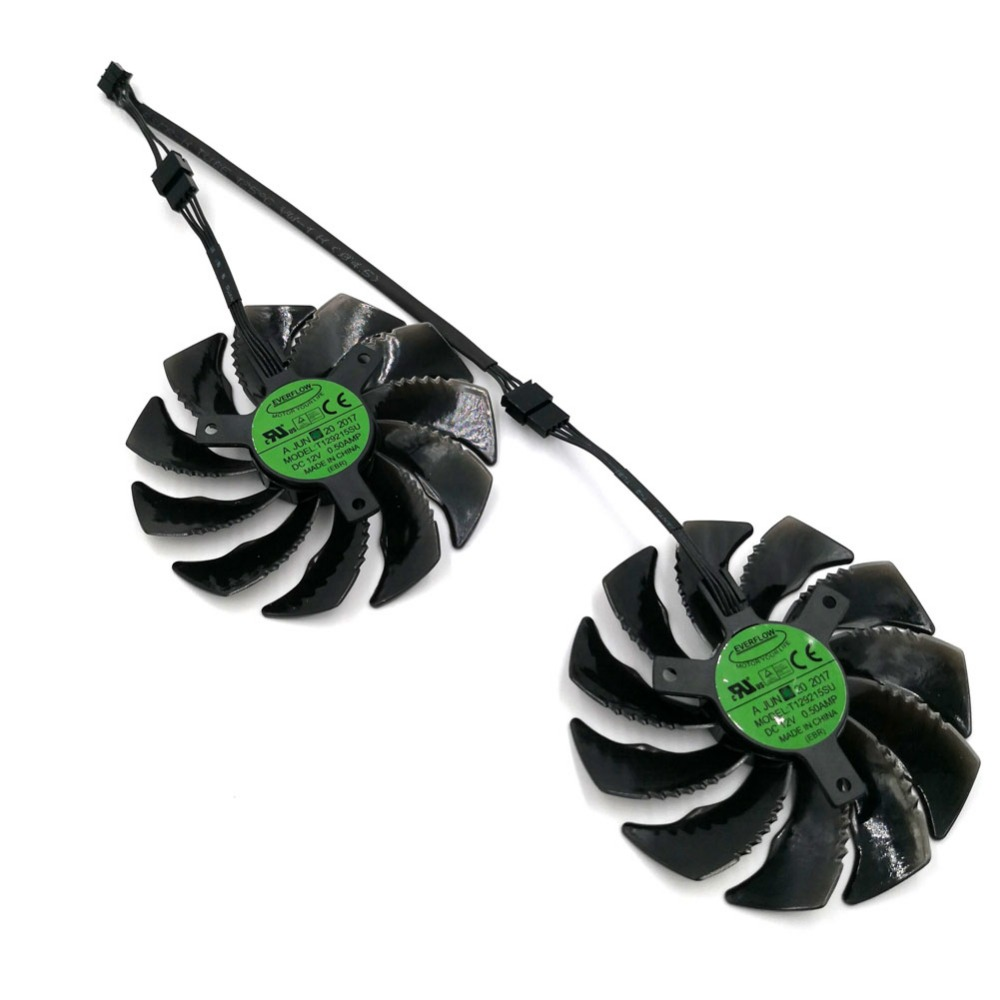 New Original EVERFLOW T129215SU Graphics Replacement Fan or Cable for GIGABYTE GTX 1050Ti 1060 1070 RX 470 480 570 580 R9 380X personal computer graphics cards fan cooler replacements fit for pc graphics cards cooling fan 12v 0 1a graphic fan