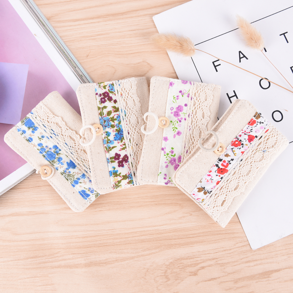 1PCS Canvas Flowers Hollow id card holder visa business card holder female credit card wallet women passport cover 24 card slots