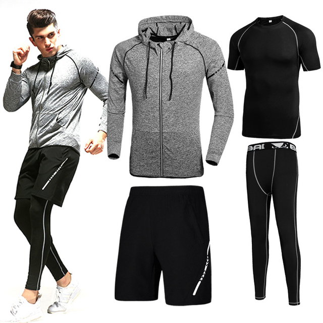 2017 Hot Selling Autumn and Winter Men Sportswear Set Men Casual Tracksuits  Hoodies Pant Short tshirt 4Pcs Set Fitness Outwear a30878a89