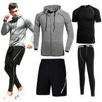 2017 Hot Selling Herfst en Winter Mannen Sportkleding Set Mannen Casual Trainingspakken Hoodies Broek Korte tshirt 4 Stks/set Fitness Uitloper