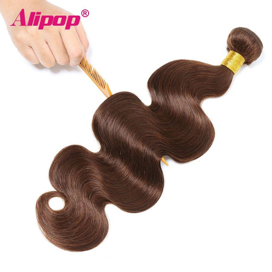 #4 Colored Body Wave Bundles Brazilian Hair 3 Bundles Light Brown Human Hair Weave Bundles Deals Hair Vendors Non Remy ALIPOP (2)