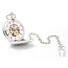 20pcs/lot Retro Classic Silver Mechanical Pocket Watch White Roman Dial Flip Pocket Watch(China)