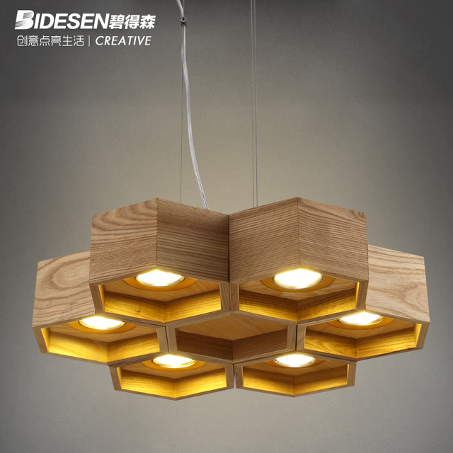 Pitt Hudson Designer Lamps Artistic Creativity Personality Living Room  Minimalist LED Lamps Wooden Beehive Restaurant Chandelier
