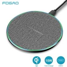 FDGAO chargeur rapide sans fil 15W pour iPhone 11 X XS XR 8 Samsung S10 S9 Huawei P30 Pro Xiaomi Mi 9 Type C USB 10W Qi Charge rapide