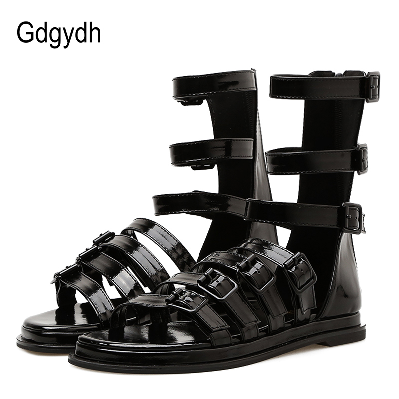 Gdgydh Wholesale 2018 Fashion Gladiator Sandals Women Summer Patent Leather Flat With Ladies Rome Sandals Zipper Party Shoes цены онлайн