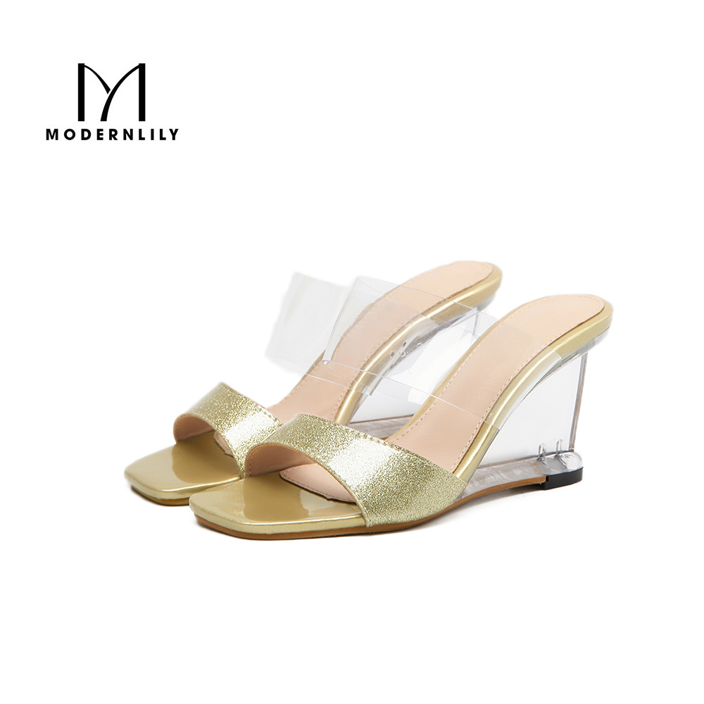 Shoes n sandals online - Wedges Heels Sandals Women 2017 Gold Pu Leather Stripper Shoes Sexy Clear High Heels Jelly Sandals
