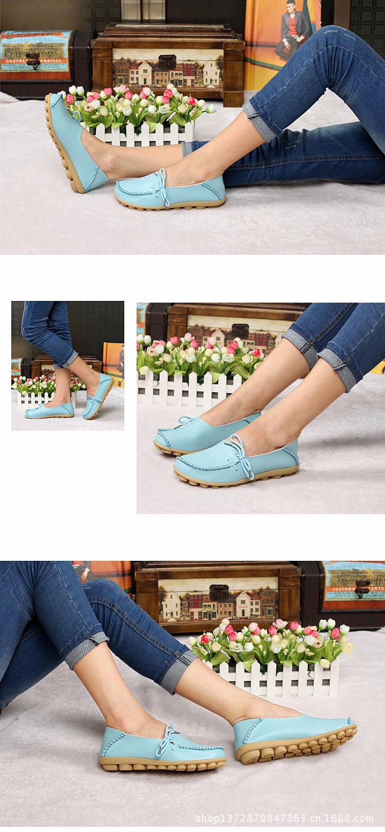 2016 New Real Leather Woman Flats Moccasins Mother Loafers Lacing Female Driving Casual Shoes In 16 Colors Size 34-44 ST179 (2)