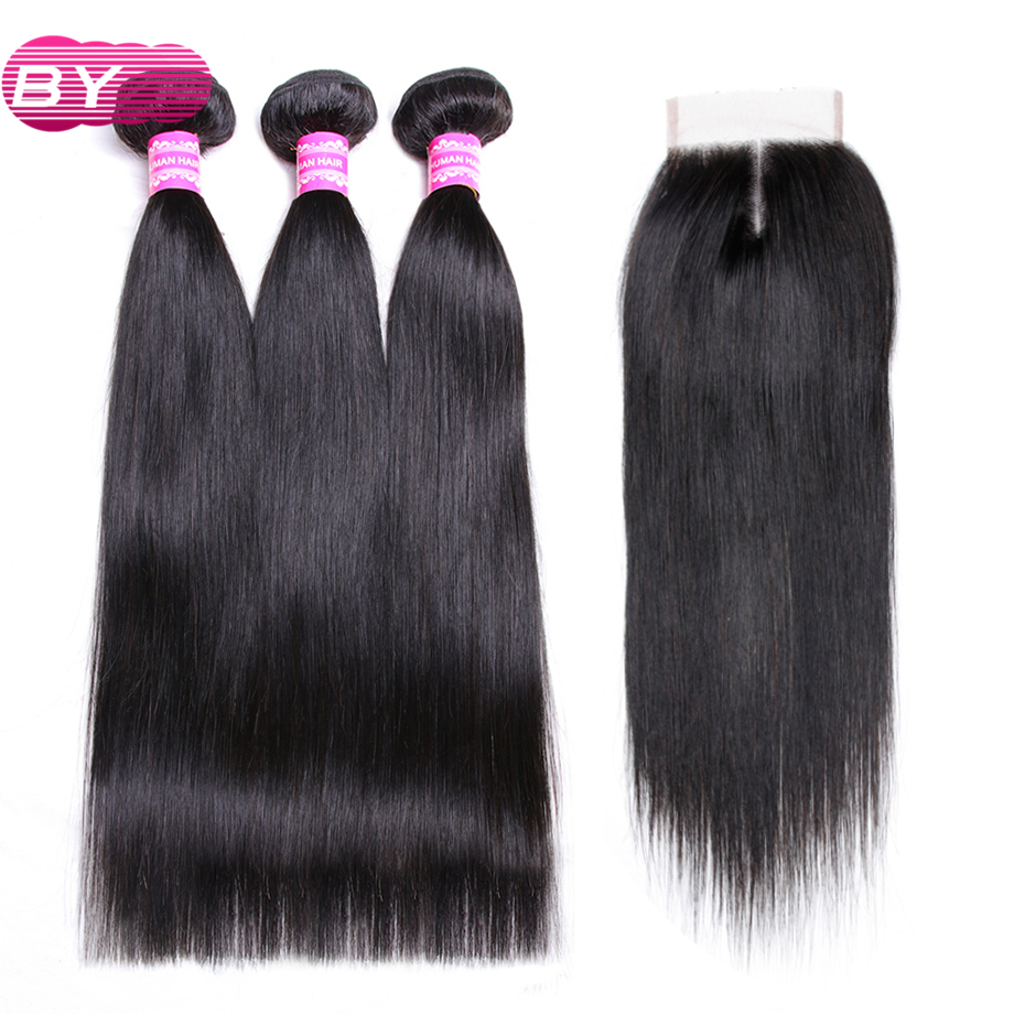 BY Brazilian Straight Human Hair 3 4 Bundles With 4x4 Middle Part Lace Closure 1B Color