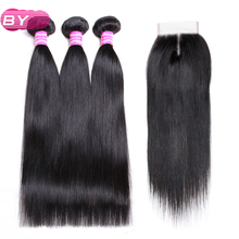 По бразильский Прямо Человеческие волосы 3/4 Связки с 4×4 средняя часть Синтетическое закрытие шнурка волос 1B # Цвет non-реми Хай для салона Наращивание волос