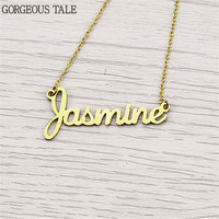 GORGEOUS TALE Personalized Name Necklace Christmas Gift Stainless Steel Customized Nameplate Collares Mujer 2017 Custom Jewelry