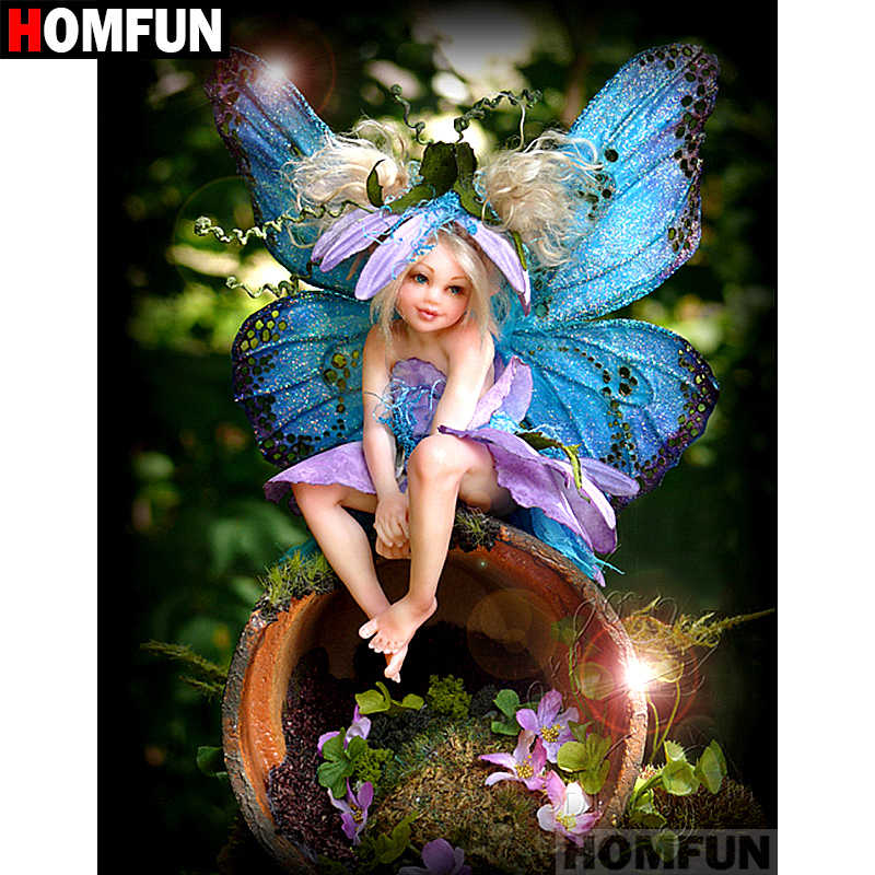 "HOMFUN Full Square/Round Drill 5D DIY Diamond Painting ""butterfly fairy"" Embroidery Cross Stitch 5D Home Decor Gift A07050"