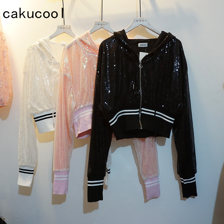 276c4afac Cakucool Women Shiny Jacket Sequined Bomber Jackets Korea Design Beading  Mesh Hooded Zipper Empire Short Casual Outerwear Female