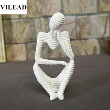 VILEAD 9.8 Natural Sandstone Thinker Statuettes Meditation Thinking Figurines Creative Vintage For Home Decoration Accessories