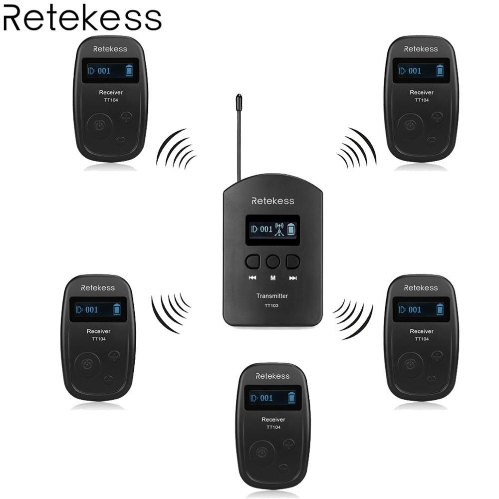 Retekess Wireless Tour Guide System 1 Transmitter 5 Receiver TT103 TT104 for Church Listening Teaching Traveling