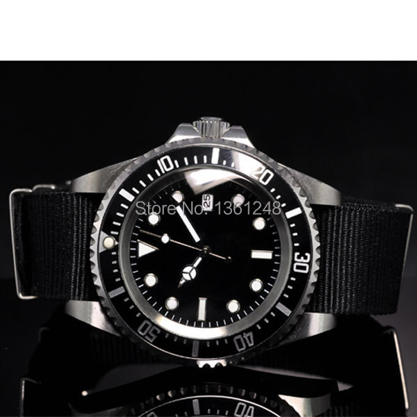 42mm parnis black sterile dial luminous marks date window vintage SEA automatic movement fabric nylon strap mens watch P10 40mm parnis black dial date widnow stainless steel strap vintage automatic movement mens watch p24