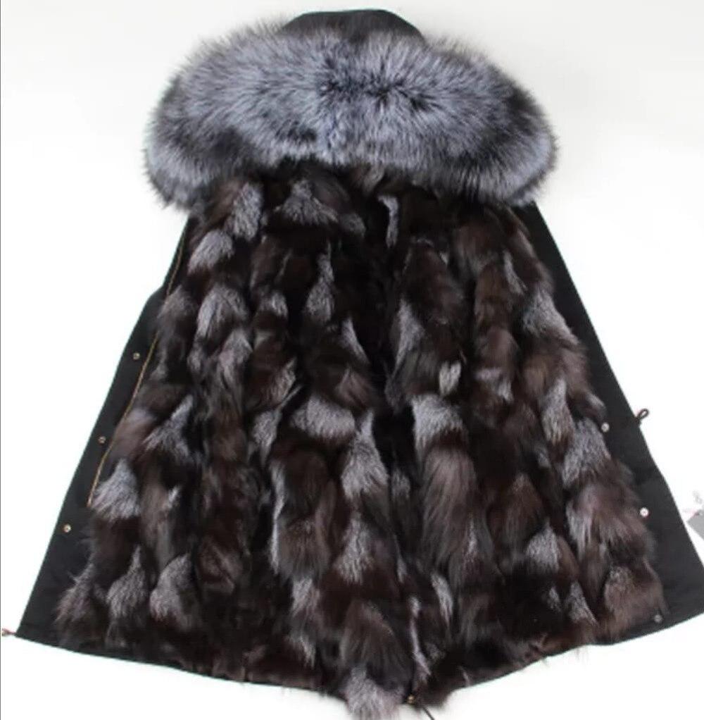 Réel de fourrure parka femme hiver parkas femmes long réel manteau de fourrure grande fourrure de raton laveur collier à capuchon parkas survêtement épais stree style
