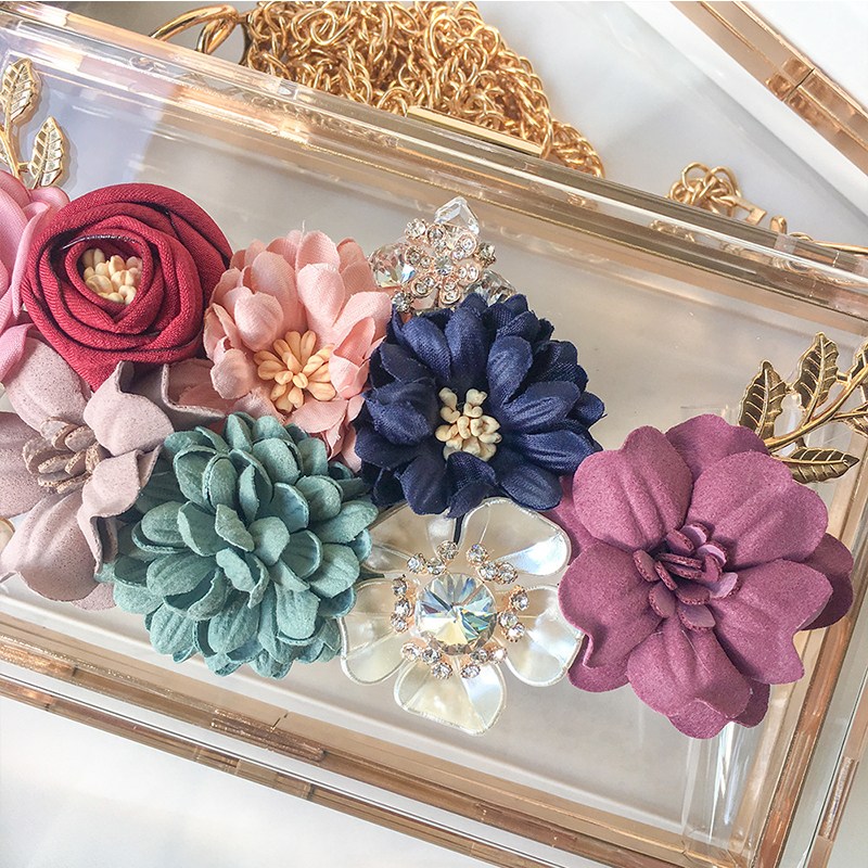 Transparent Wedding Clutch Purse Flower Pearl Acrylic Clutch Bags for Women Shoulder Bag Beach Bag for Summer ZD1316 3