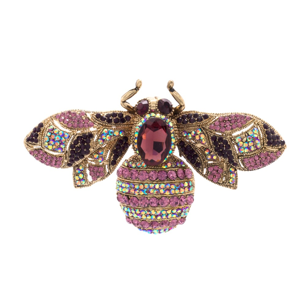 6 ფერები მომხიბლავი რთველი Retro Bee Rhinestone Crystal Insect Brooch Pin Woman Brooch Party Jewell 6608
