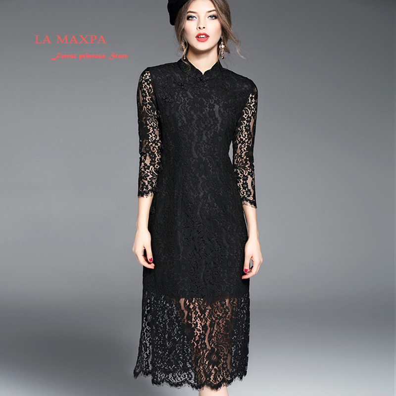 2017 Spring Summer Lace Dress Mandarin Collar Hollow Out Three Quarte Sleeve Solid Color Chinese Style