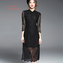 2017 Spring Summer Lace Dress Mandarin Collar Hollow Out Three Quarte Sleeve Solid Color Chinese Style Sexy Fashion Dress