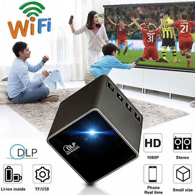 Big Sale 30 Lumens USB/TF DPL Mini LED Projector Pocket Projector Portable HD 1080P 4:3/16:9 Multimedia Home Theater support TF card 2018