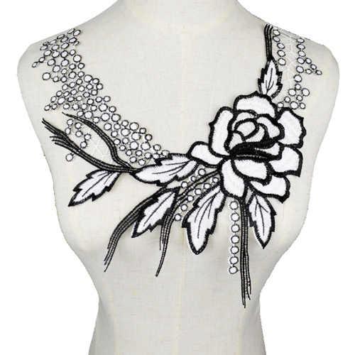 เย็บปักถักร้อยสีขาวปก Venise เลื่อมดอกไม้ปัก Applique ลูกไม้คอปกอุปกรณ์เสริม Scrapbooking