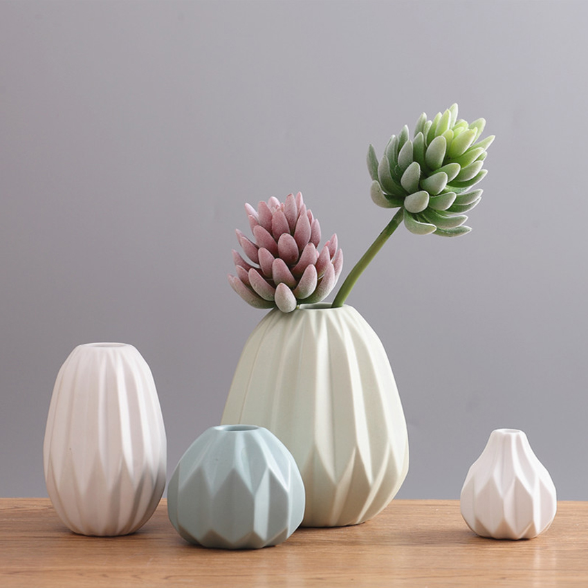 European style origami ceramic vase home decor flower for Contemporary tabletop decor