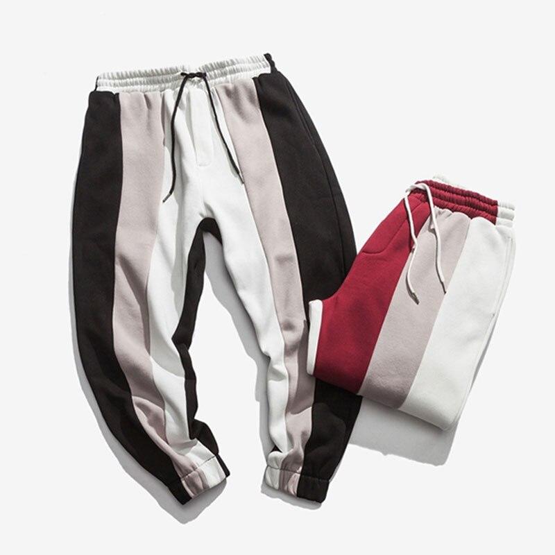 Aolamegs Men Casual Track Pants Splice Contrast Pants Men Letter Print Elastic Waist Sweatpants Men High Street Pants Streetwear (8)
