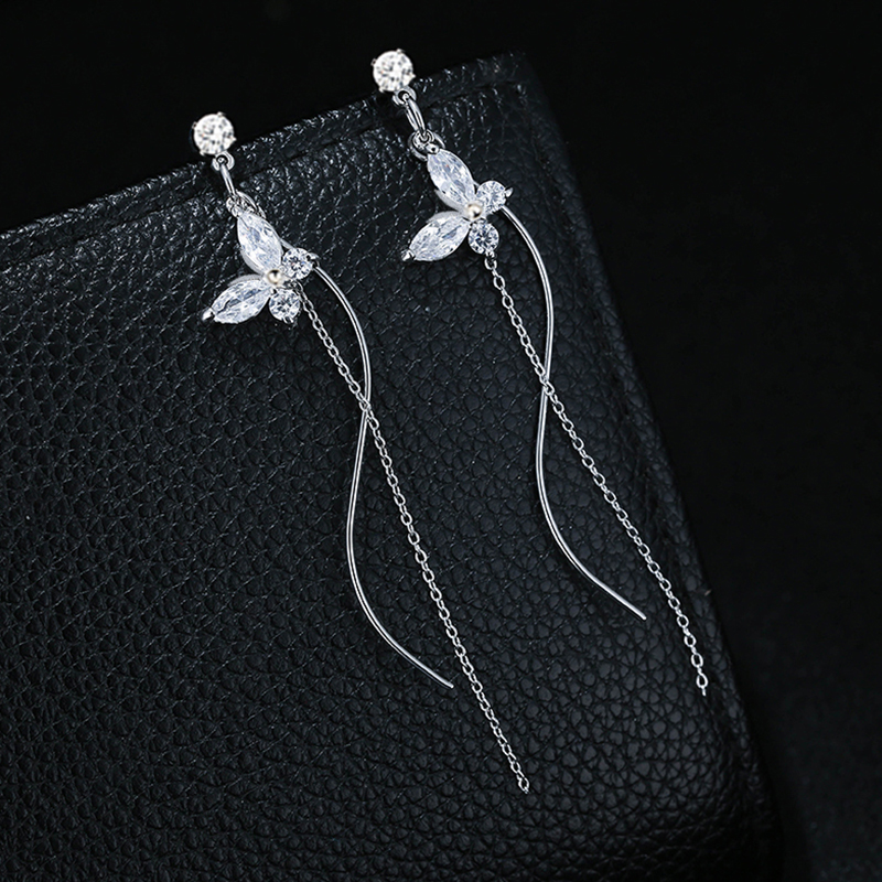 Fashion Clear Cubic Zirconia Butterfly Earrings For Women Luxury Silver Color Long Chain Tassel Dangle Earrings