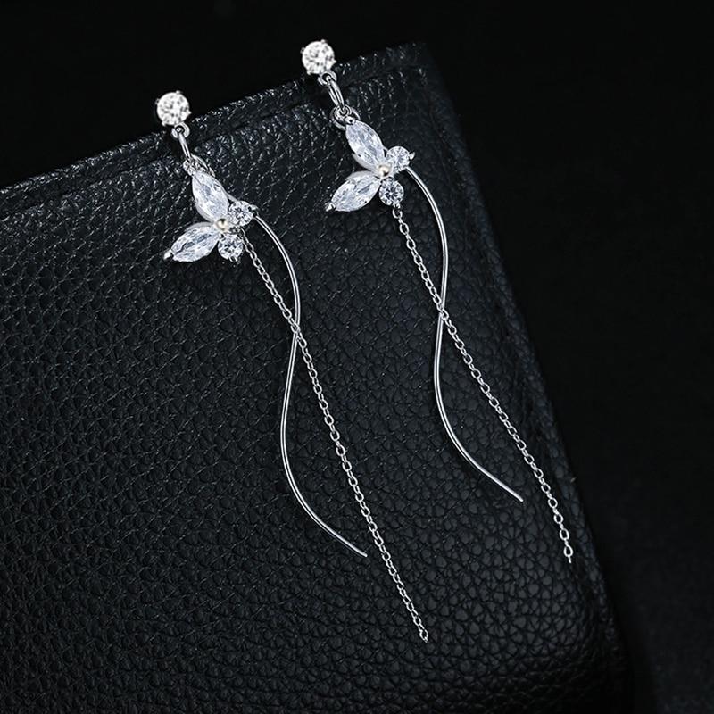 Fashion Clear Cubic Zirconia Butterfly Earrings For Women Luxury Silver Color Long Chain Tassel Dangle Earrings