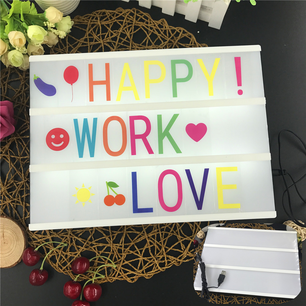 A4 Size Light Box Wedding Party Bar Valentine's Day Decor Children Early Education Battery Powered & DC Port Energization Mode
