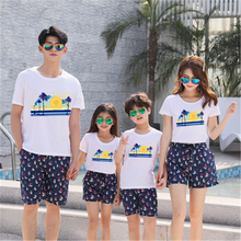 Matching Family Clothing Fashion Mother Daughter Clothes Striped T shirt Shorts Outfits Father Son Set