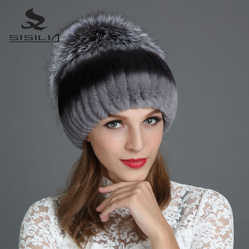 SISILIA 2017 Winter Fashion New Women's Hats With Real Fox Fur Hat Pom Poms Winter Hats Warm Knitted Cotton Beanies Female Cap russia 2016 new real knitted mink fur hat for girl autumn winter beanies hat with fox fur pom poms fashion fur cap factory sale
