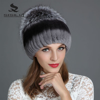 SISILIA 2017 Winter Fashion New Women S Hats With Real Fox Fur Hat Pom Poms Winter
