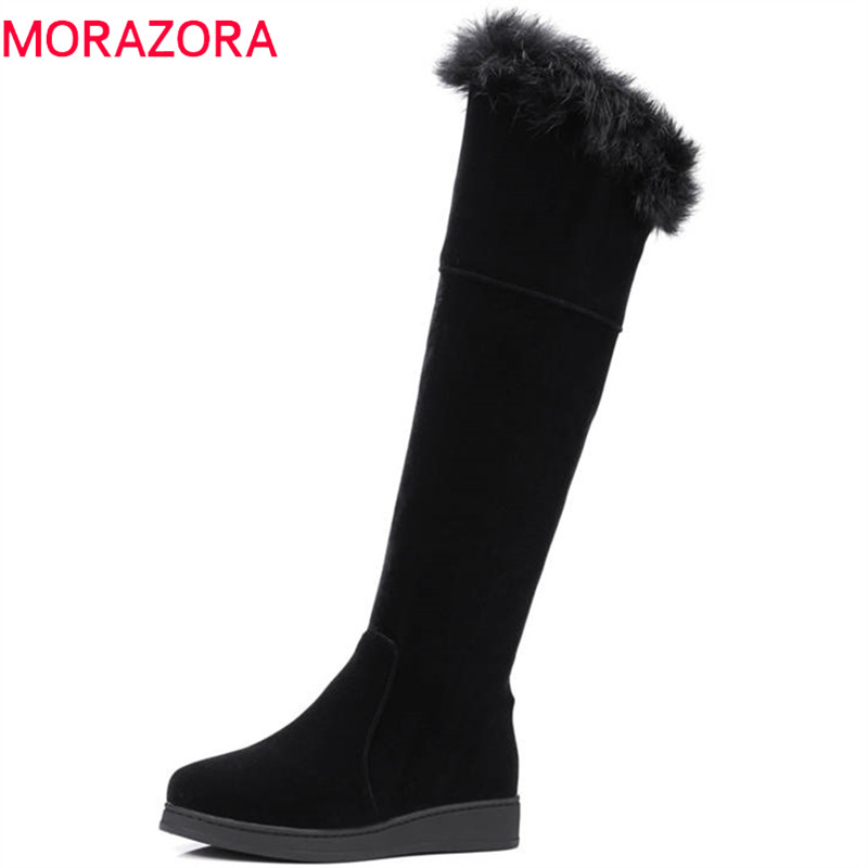 MORAZORA 2018 big size 34-45 knee high boots women simple zipper keep warm winter snow boots round toe fashion shoes woman morazora plus size 34 43 new keep warm ankle snow boots round toe pu soft leather platform shoes woman sweet women winter boots