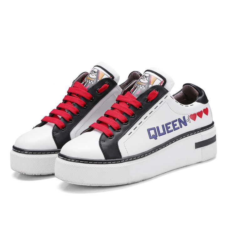 2018 Poker Queen White Black Platform Women Shoes Red Heart Shoes Flats Graffiti Casual Woman Shoes Zapatillas Deportivas Mujer e lov unique design taurus horoscope luminous canvas shoes women diy graffiti couples lovers casual flats zapatillas mujer