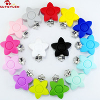 5 Pcs Baby BPA Free Silicone Pacifier Clip Holder Flower Pacifier Chain Clip Silicone Suspender Clip Metal SUTOYUEN