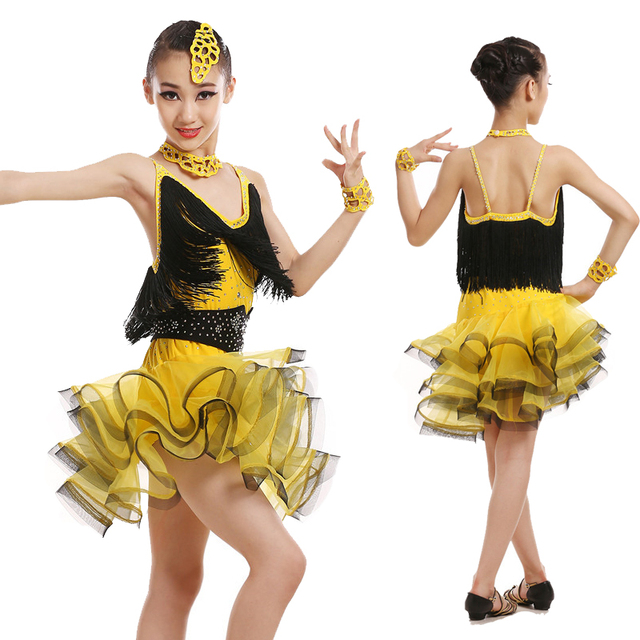 013fdcf634d5 Professional Children Latin Dance Clothing Girls Tassel Latin Dance Skirt  Costumes Competition Dancewear Dress 4 Colors