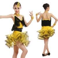 Professional Children Latin Dance Clothing Girls Tassel Latin Dance Skirt Costumes Competition Dancewear Dress 4 Colors