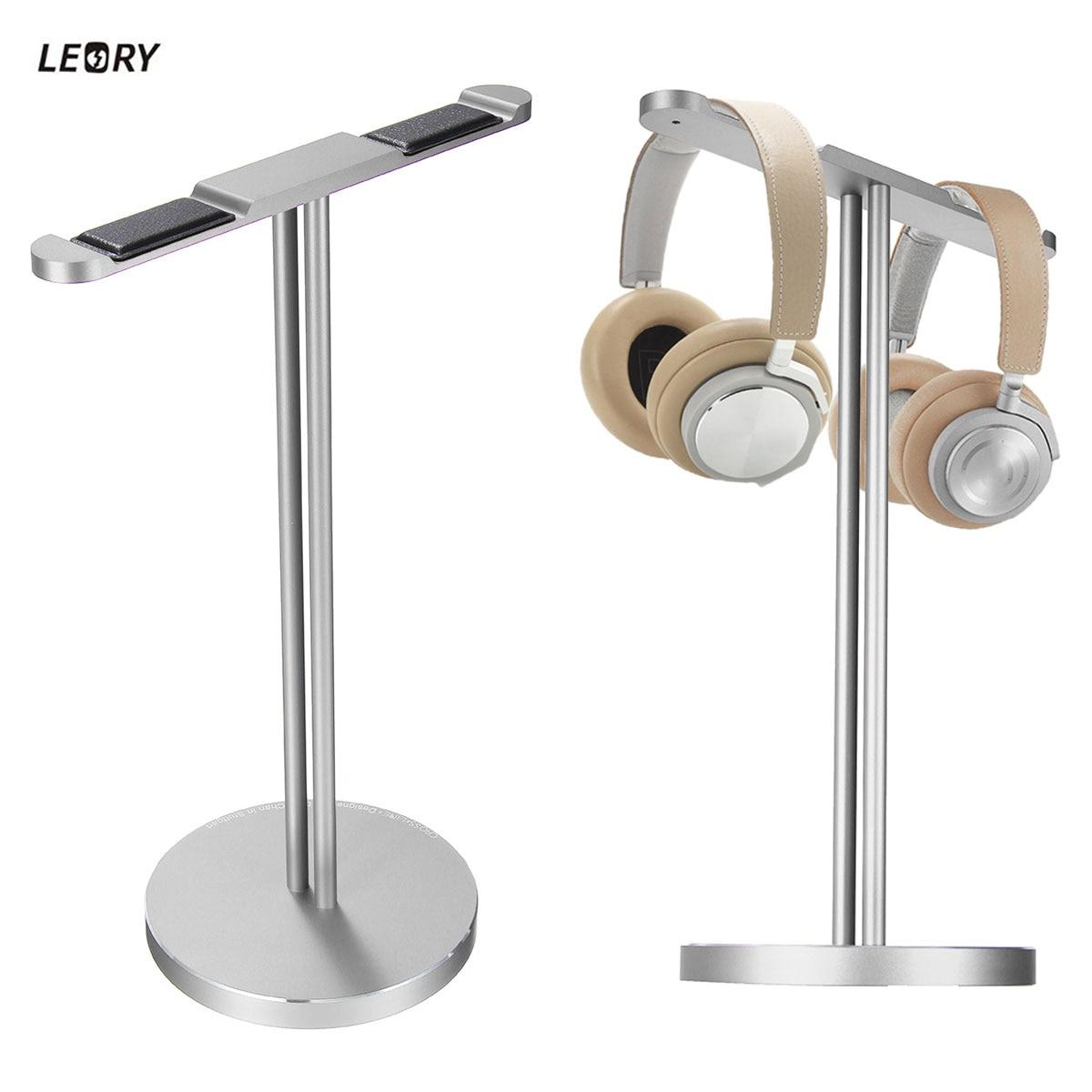 цена на Original LEORY Aluminum Headphone Headset Holder Stand Dual Hanger Holder Earphone Desk Display Rack Stand For Game Headphones