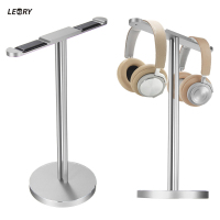 Original LEORY Aluminum Headphone Headset Holder Stand Dual Hanger Holder Earphone Desk Display Rack Stand For