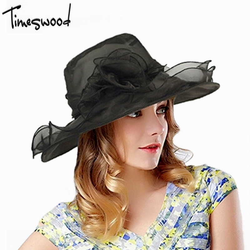 [TIMESWOOD]Summer Organza Hats Silk Foldable Beach Hat For Women Chapeu Floral Bow Transparent Wide Brim Floppy Sunscreen Caps