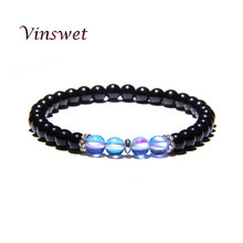 2019 New Design Friendship Bracelet Couple Bracelet Beads Energy Crystal Bracelets Femme Black Onyx Stone Men Jewelry Gift(China)